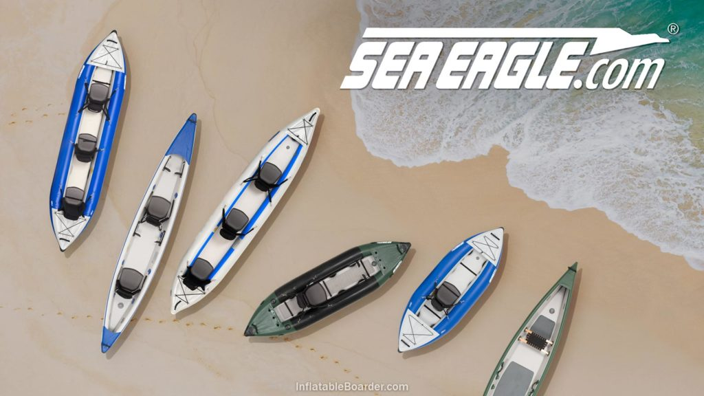 Sea Eagle inflatable kayaks compared on a beach